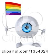 Clipart Of A 3d Blue Eyeball Character Holding A Rainbow Flag And Giving A Thumb Down On A White Background Royalty Free Vector Illustration