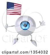 Clipart Of A 3d Blue Eyeball Character Holding An American Flag And Jumping On A White Background Royalty Free Vector Illustration