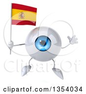 Clipart Of A 3d Blue Eyeball Character Holding A Spanish Flag And Jumping On A White Background Royalty Free Vector Illustration