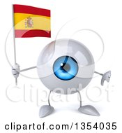 Clipart Of A 3d Blue Eyeball Character Holding A Spanish Flag And Giving A Thumb Down On A White Background Royalty Free Vector Illustration