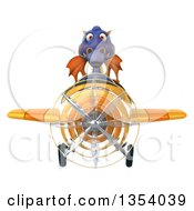 Clipart Of A 3d Purple Dragon Aviatior Pilot Flying A Yellow Airplane On A White Background Royalty Free Vector Illustration by Julos