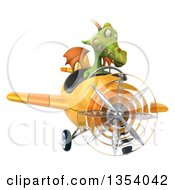 Clipart Of A 3d Green Dragon Aviatior Pilot Flying A Yellow Airplane On A White Background Royalty Free Vector Illustration