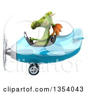 Clipart Of A 3d Green Dragon Aviatior Pilot Flying A Blue Airplane On A White Background Royalty Free Vector Illustration