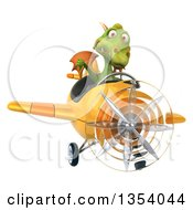 Clipart Of A 3d Green Dragon Aviatior Pilot Giving A Thumb Down And Flying A Yellow Airplane On A White Background Royalty Free Vector Illustration