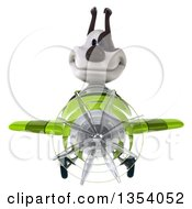 3d Jack Russell Terrier Dog Aviatior Pilot Flying A Green Airplane On A White Background