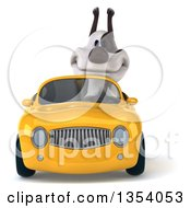 3d Jack Russell Terrier Dog Driving A Yellow Convertible Car On A White Background