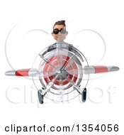 Clipart Of A 3d Young White Male Doctor Aviatior Pilot Wearing Sunglasses And Flying A White And Red Airplane On A White Background Royalty Free Vector Illustration