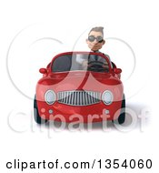 Clipart Of A 3d Young White Male Doctor Wearing Sunglasses And Driving A Red Convertible Car On A White Background Royalty Free Vector Illustration by Julos
