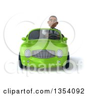 3d Young Black Male Doctor Driving A Green Convertible Car On A White Background
