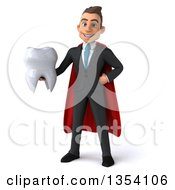 Clipart Of A 3d Super White Business Man Holding A Tooth On A White Background Royalty Free Illustration by Julos