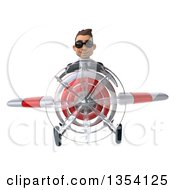 Clipart Of A 3d Young White Businessman Aviator Pilot Wearing Sunglasses And Flying A White And Red Airplane On A White Background Royalty Free Vector Illustration by Julos