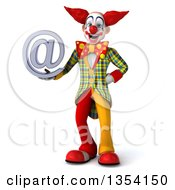Clipart Of A 3d Funky Clown Holding An Email Arobase At Symbol On A White Background Royalty Free Vector Illustration