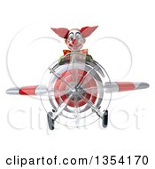 Clipart Of A 3d Funky Clown Aviator Pilot Flying A White And Red Airplane On A White Background Royalty Free Vector Illustration