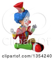 Clipart Of A 3d Colorful Clown Meditating On A White Background Royalty Free Vector Illustration
