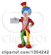Clipart Of A 3d Colorful Clown Holding An Envelope On A White Background Royalty Free Vector Illustration