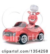 Clipart Of A 3d Pig Chef Driving A Pink Convertible Car On A White Background Royalty Free Vector Illustration