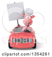 Clipart Of A 3d Pig Chef Holding A Blank Sign And Driving A Pink Convertible Car On A White Background Royalty Free Vector Illustration