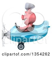 Clipart Of A 3d Chef Pig Aviator Pilot Flying A Blue Airplane On A White Background Royalty Free Vector Illustration