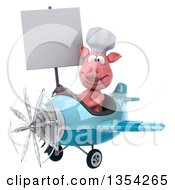 Clipart Of A 3d Chef Pig Aviator Pilot Holding A Blank Sign And Flying A Blue Airplane On A White Background Royalty Free Vector Illustration