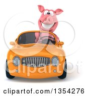 Clipart Of A 3d Pig Driving A Yellow Convertible Car On A White Background Royalty Free Vector Illustration