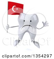 Clipart Of A 3d Unhappy Tooth Character Holding A Turkish Flag And Jumping On A White Background Royalty Free Vector Illustration