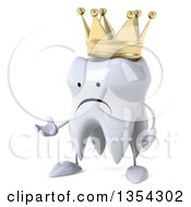 Clipart Of A 3d Unhappy Crowned Tooth Character Presenting On A White Background Royalty Free Vector Illustration