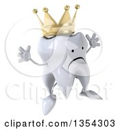 Clipart Of A 3d Unhappy Crowned Tooth Character Jumping On A White Background Royalty Free Vector Illustration
