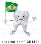 Clipart Of A 3d Unhappy Tooth Character Holding A Brazilian Flag And Jumping On A White Background Royalty Free Vector Illustration