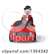 Clipart Of A 3d White And Black Clown Driving A Red Convertible Car On A White Background Royalty Free Vector Illustration