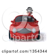 Clipart Of A 3d White And Black Clown Wearing Sunglasses And Driving A Red Convertible Car On A White Background Royalty Free Vector Illustration