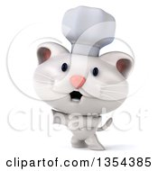 Clipart Of A 3d White Chef Kitten Presenting On A White Background Royalty Free Vector Illustration