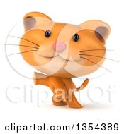 Clipart Of A 3d Ginger Cat Presenting On A White Background Royalty Free Vector Illustration by Julos