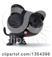 Clipart Of A 3d Black Kitten Walking On A White Background Royalty Free Vector Illustration