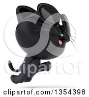 Clipart Of A 3d Black Kitten Wearing Sunglasses And Jumping On A White Background Royalty Free Vector Illustration