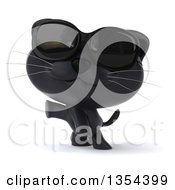 Clipart Of A 3d Black Kitten Wearing Sunglasses And Presenting On A White Background Royalty Free Vector Illustration