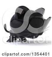 Clipart Of A 3d Black Kitten Wearing Sunglasses And Walking On A White Background Royalty Free Vector Illustration