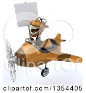 Clipart Of A 3d Bespectacled Business Camel Aviator Pilot Holding A Blank Sign And Flying A Brown Airplane On A White Background Royalty Free Vector Illustration