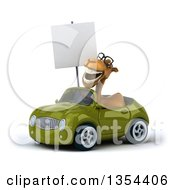 Clipart Of A 3d Bespectacled Camel Holding A Blank Sign And Driving A Green Convertible Car On A White Background Royalty Free Vector Illustration