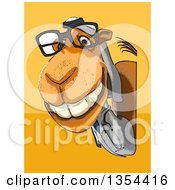 Clipart Of A Cartoon Arabian Doctor Or Veterinarian Camel Looking Around A Sign On An Orange And Yellow Background Royalty Free Vector Illustration