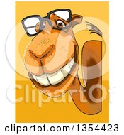 Clipart Of A Cartoon Bespectacled Camel Looking Around A Sign On An Orange And Yellow Background Royalty Free Vector Illustration