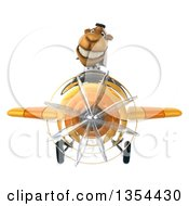Clipart Of A 3d Arabian Business Camel Aviator Pilot Flying A Yellow Airplane On A White Background Royalty Free Vector Illustration