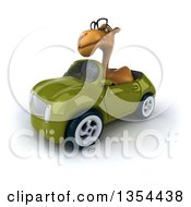 Clipart Of A 3d Bespectacled Camel Driving A Green Convertible Car On A White Background Royalty Free Vector Illustration