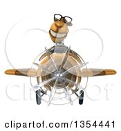 Clipart Of A 3d Bespectacled Business Camel Aviator Pilot Flying A Brown Airplane On A White Background Royalty Free Vector Illustration