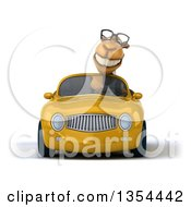 Clipart Of A 3d Bespectacled Camel Driving A Yellow Convertible Car On A White Background Royalty Free Vector Illustration