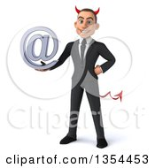 Clipart Of A 3d Young White Devil Businessman Holding An Email Arobase At Symbol On A White Background Royalty Free Vector Illustration
