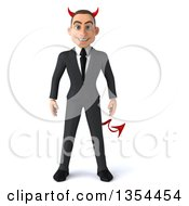 Clipart Of A 3d Young White Devil Businessman On A White Background Royalty Free Vector Illustration by Julos