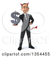 Clipart Of A 3d Young White Devil Businessman Holding A Dollar Currency Symbol On A White Background Royalty Free Vector Illustration