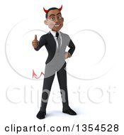 Clipart Of A 3d Young Black Devil Businessman Giving A Thumb Up On A White Background Royalty Free Vector Illustration