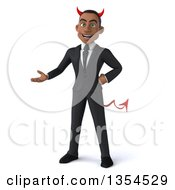 Clipart Of A 3d Young Black Devil Businessman Presenting On A White Background Royalty Free Vector Illustration