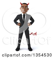 Clipart Of A 3d Young Black Devil Businessman Standing With Hands On His Hips On A White Background Royalty Free Vector Illustration by Julos